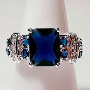 Ring Size 7 Simulated Diamond Sapphire 118